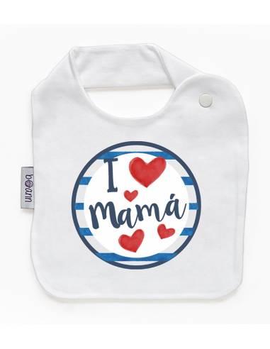 Babero personilazado dia de la madre: I love mamá - Baberos personalizados divertidos