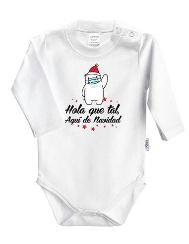 """Body bebé Navidad """"Hola que tal, aquí de Navidad"""" - Bodys bebé personalizados"""