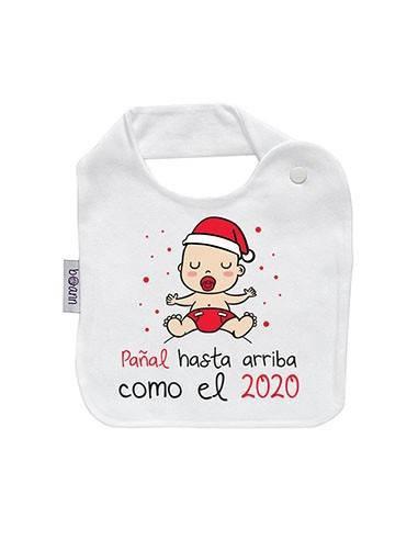 """Babero navideño """"Pañal hasta arriba"""" - Baberos personalizados divertidos"""